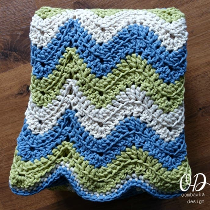 Tranquil Waves Ripple Blanket Folded