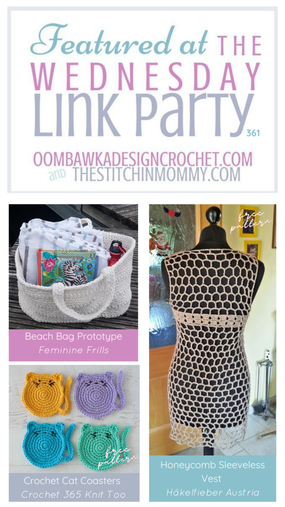 Wednesday Link Party 361 Features Beach Bag - Cat Coasters - honeycomb vest