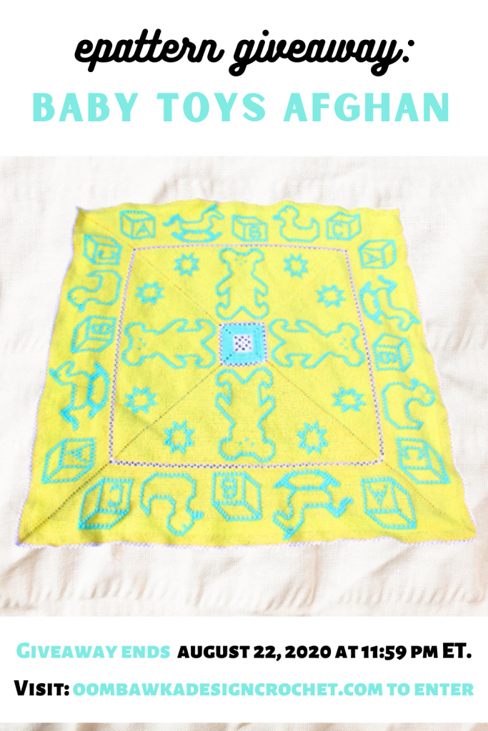 ePattern Giveaway Baby Toys Afghan ends August 22 2020 1159 pm ET