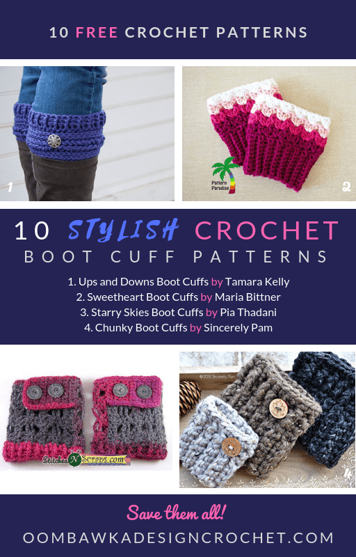 10 Stylish Crochet Boot Cuff Patterns. Free Pattern Roundup by Oombawka Design Crochet