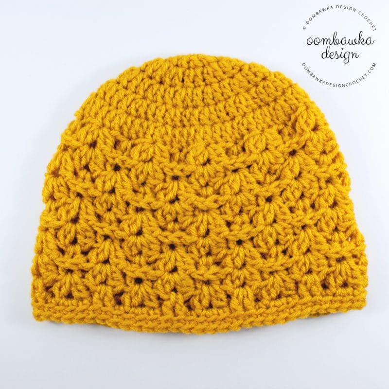 Delight Hat Gold Solid- Free Textured Shell Hat Pattern - OombawkaDesignCrochet
