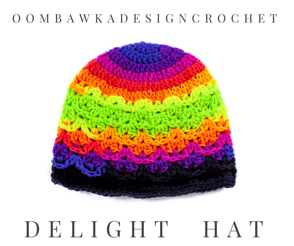 Delight Hat - Free Textured Shell Hat Pattern - OombawkaDesignCrochet
