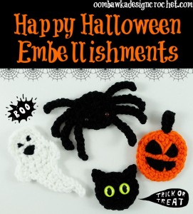 Happy Halloween Embellishments | Free Patterns | oombawkadesigncrochet.com