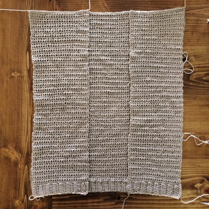 Assembly Step 2. The Parker Cardigan by Meghann Chupp Guest Post for Oombawa Design Crochet 2018