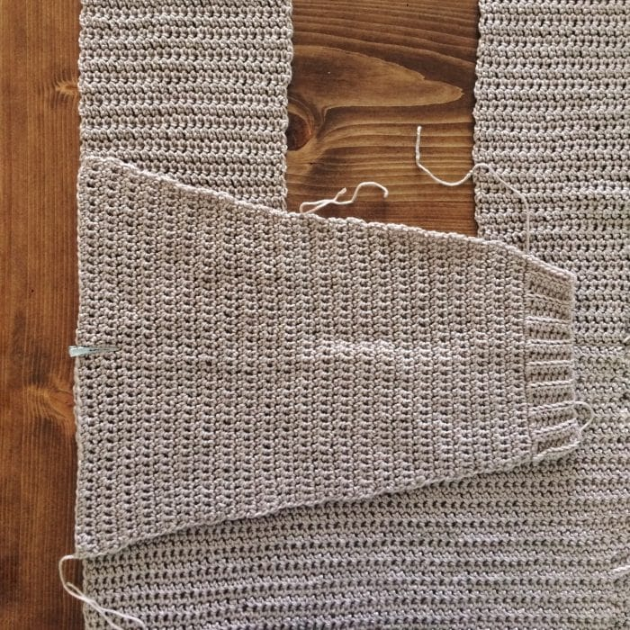 Assembly Step 4. The Parker Cardigan by Meghann Chupp Guest Post for Oombawa Design Crochet 2018