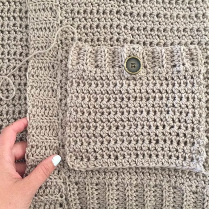 Attaching Pockets 2. The Parker Cardigan by Meghann Chupp Guest Post for Oombawa Design Crochet 2018