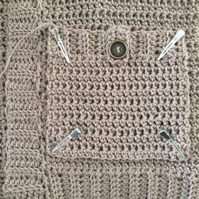 Attaching Pockets 3. The Parker Cardigan by Meghann Chupp Guest Post for Oombawa Design Crochet 2018