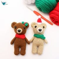 Mini Bear in Stocking Featured at Free Pattern Friday