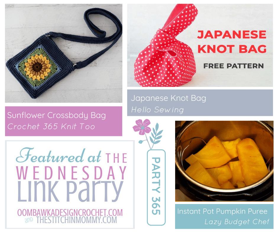 Wednesday Link Party 365 - Crossbody Bag - Knot Bag - Instant Pot Pumpkin