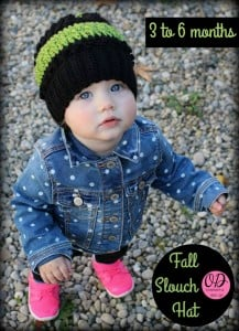3 to 6 months Fall Slouch Hat Pattern. Oombawka Design Crochet.