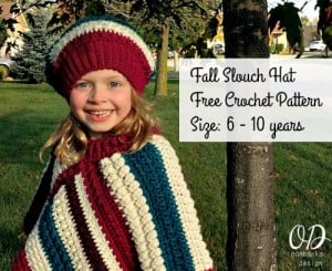 Fall Slouch Hat Pattern Size 6 to 10 years