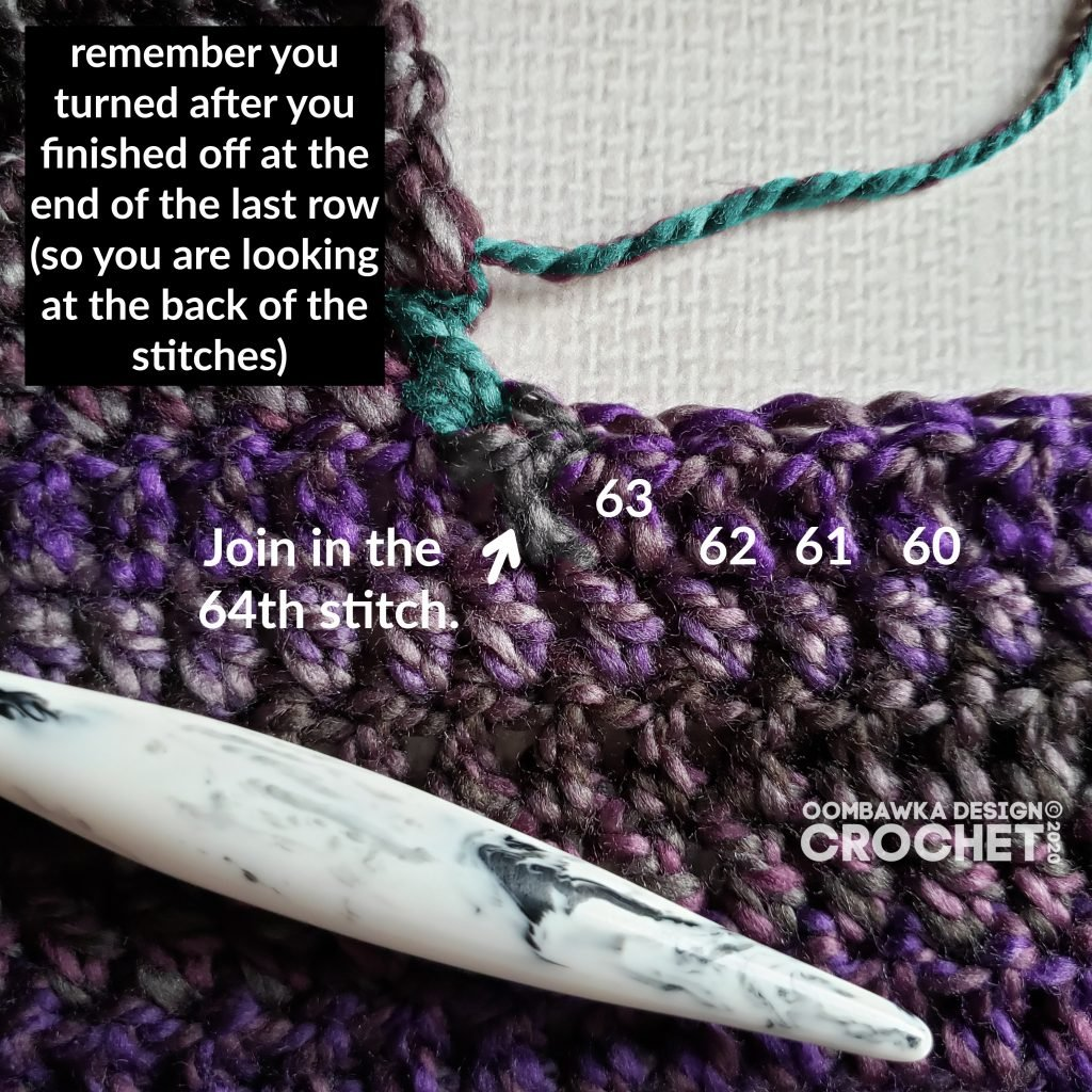 64 th stitch join - Ametrine Hooded Pocket Scarf Tutorial ODC2020