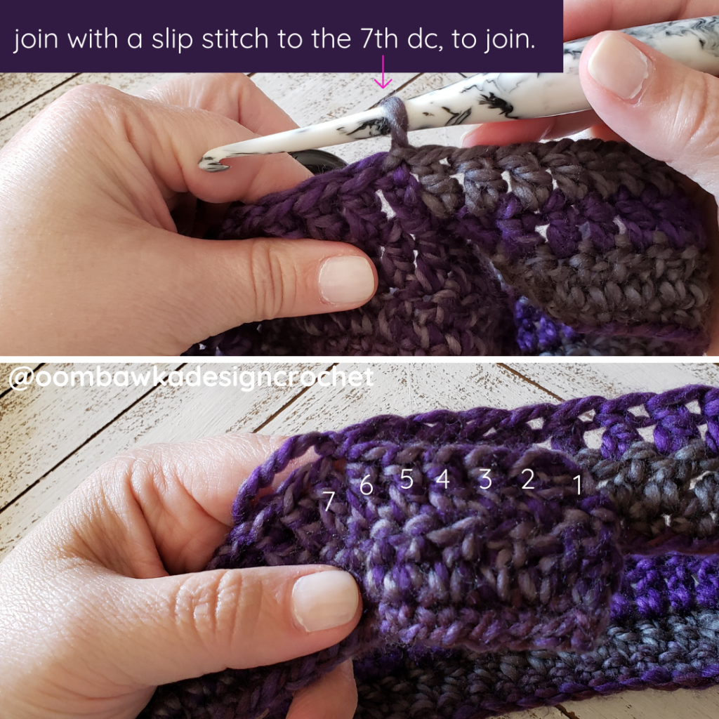 Tutorial 7th stitch join. Ametrine Button Hat Pattern.