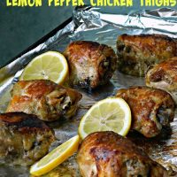 Crock Pot Lemon Pepper Chicken Thighs Featured at Wednesday Link Party