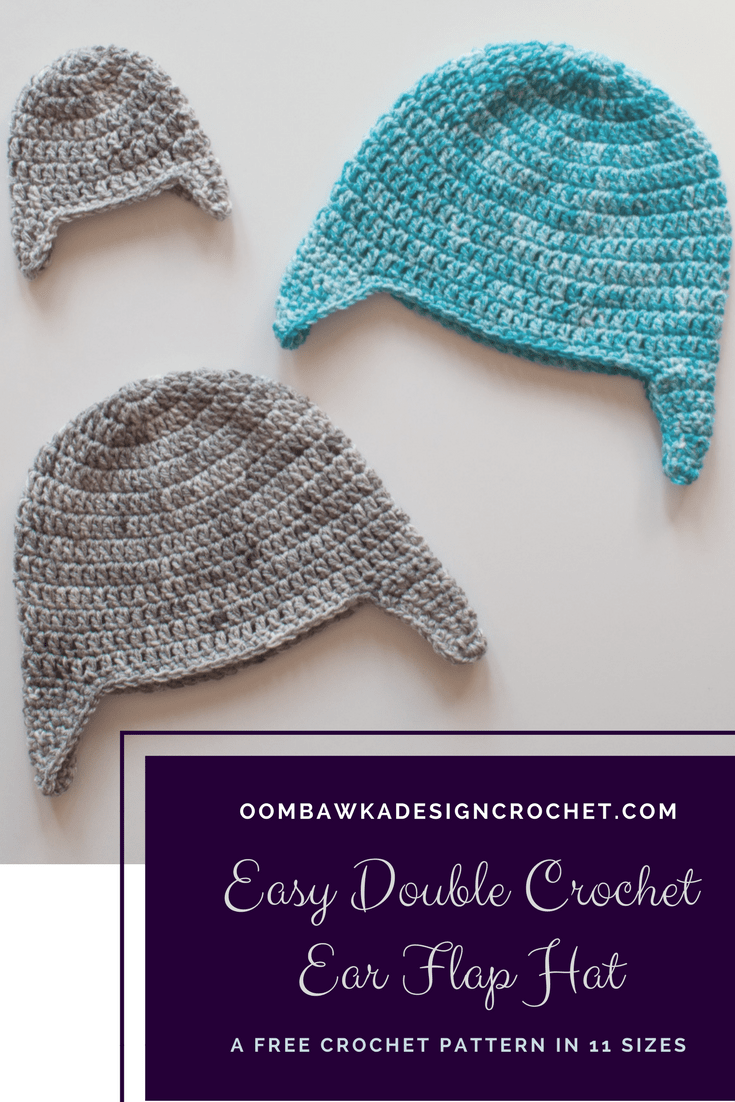 Easy Double Crochet Ear Flap Hat Pattern in 11 sizes by Oombawka Design This free pattern is crocheted with medium weight yarn and a 5.5 mm (I) crochet hook. The samples were crocheted with Red Heart Super Saver Yarn. Instructions are included for the braided ties too. Sizes Preemie to Adult Large.