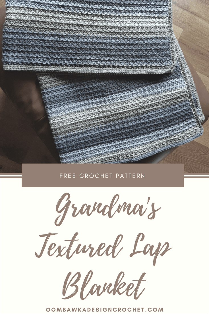 This blanket is crocheted using the Trinity Stitch and the finished fabric does not have any large spaces or holes. Grandma\'s Textured Lap Blanket is warm, soft and sized to fit a lap comfortably.