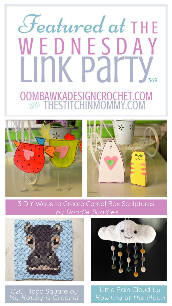 Featured Favorites Wednesday Link Party 369 Little Rain Cloud - C2C Hippo Square - DIY Cereal Box Sculptures