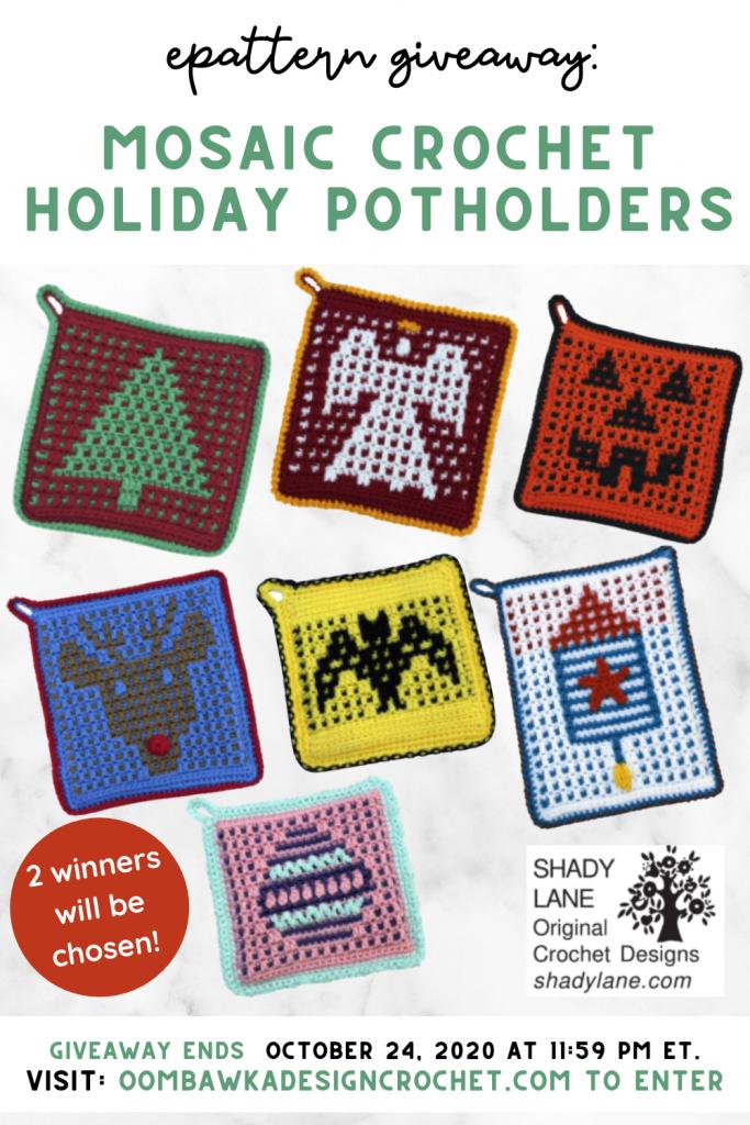 Mosaic Crochet Holiday Potholder ePattern Giveaway ends Oct 24 2020 1159pm et