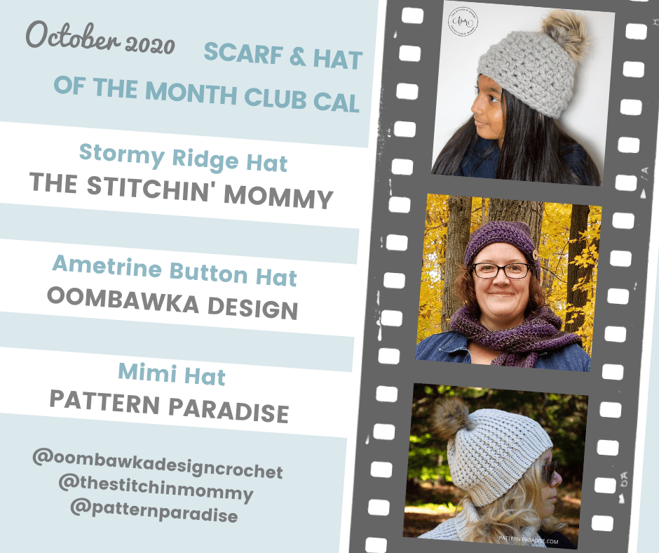 October Hat of the Month Club CAL Collage
