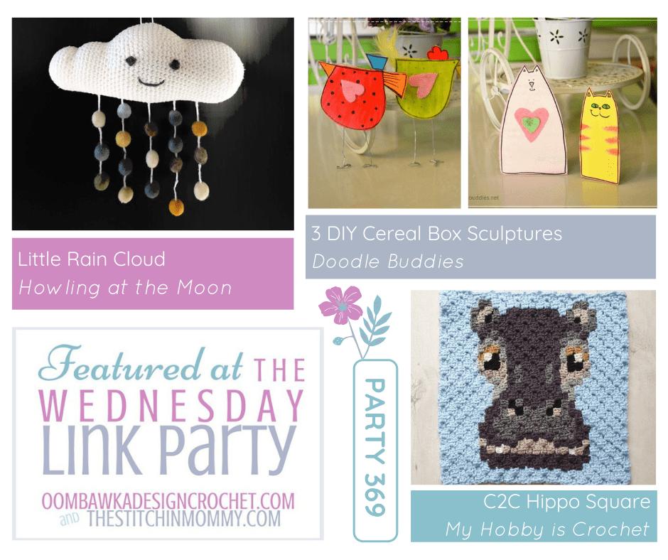Party 369 Features - Little Rain Cloud - C2C Hippo Square - 3 DIY Cereal Box Sculptures