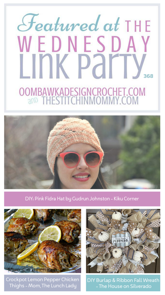 Wednesday Link Party 368 - Fidra Hat, Lemon Pepper Chicken and a DIY Fall Wreath