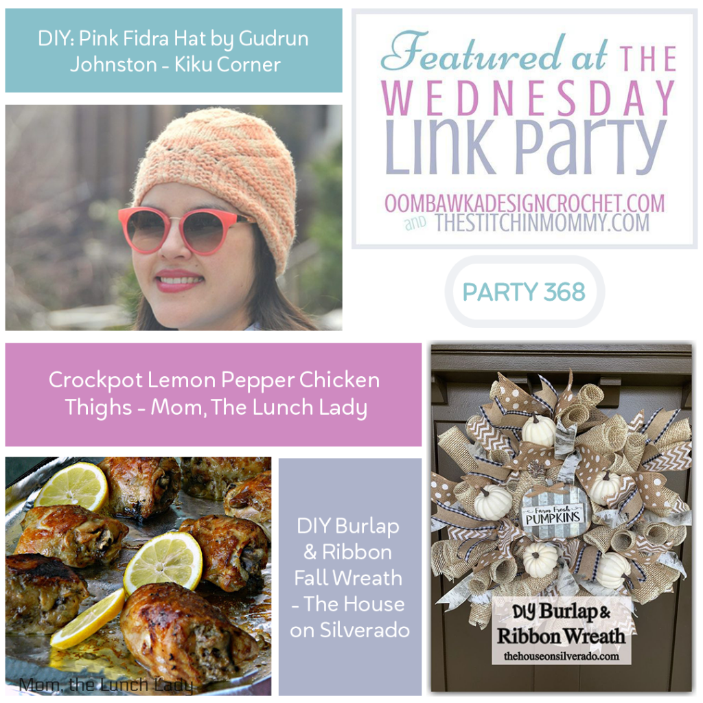 Wednesday Link Party 368 - Fidra Hat, Lemon Pepper Chicken and a DIY Fall Wreath FB