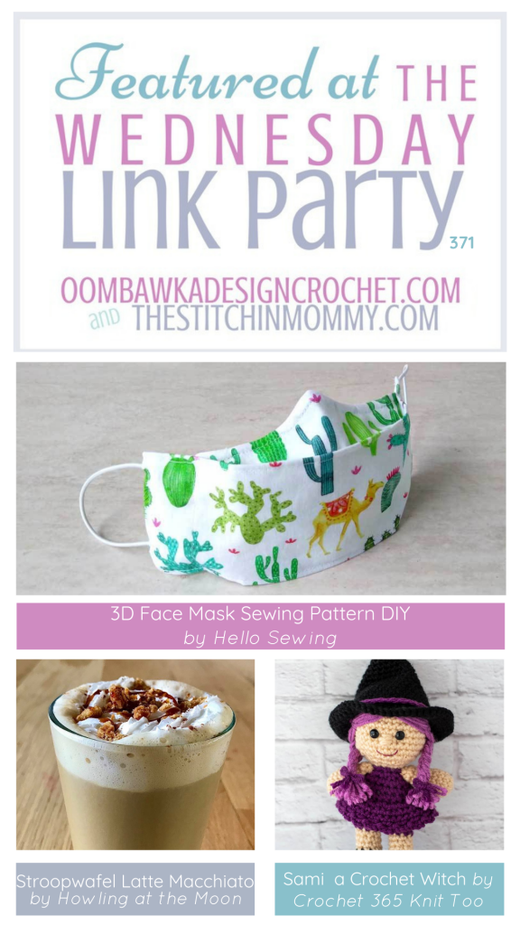 Wednesday Link Party 371 Features Stroopwafel Latte Macchiato - Crochet Witch - 3D Face Mask