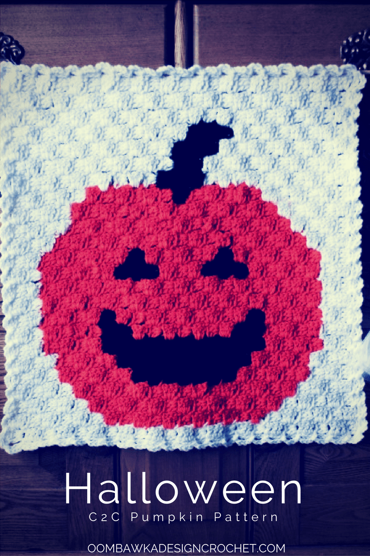 Decorate with a C2C Halloween Pumpkin Panel - Free Pattern with Chart and Written Instructions from Oombawka Design.