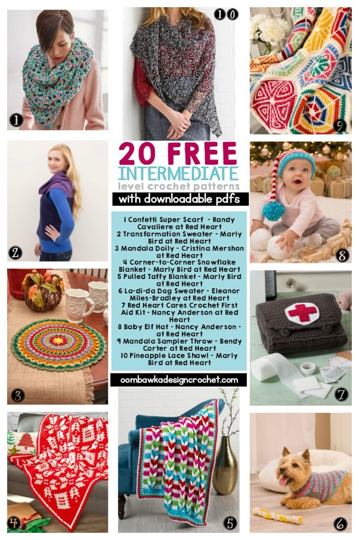 ... Free INTERMEDIATE Level Crochet Patterns ? Oombawka Design Crochet