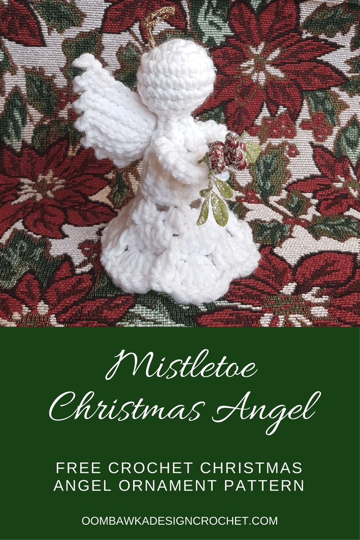 Mistletoe Christmas Angel Ornament Pattern Free Crochet Pattern from Oombawka Design Yarn Used: Red Heart Super Saver Hook Used: 4 mm (G) Furls Odyssey