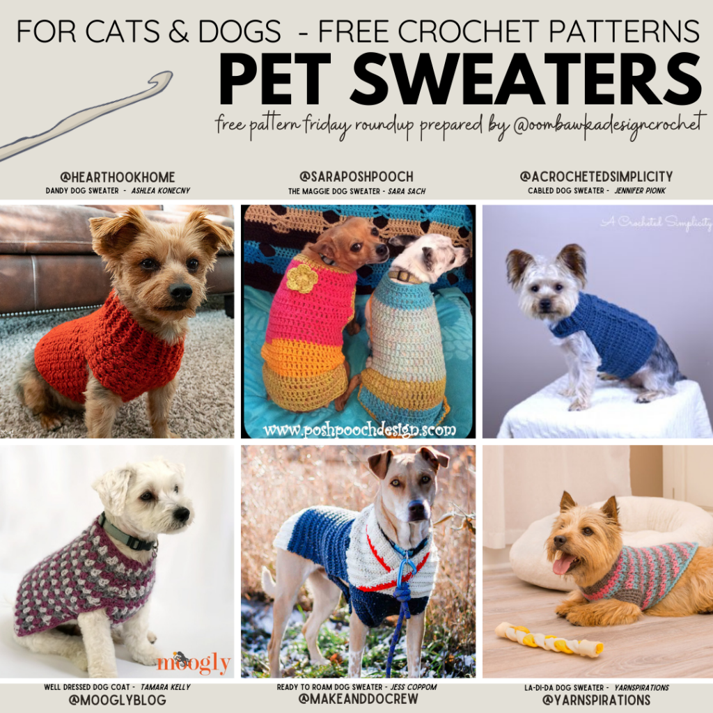 Crochet Pet Sweaters - Free Patterns #petsweaters #catsweaters #dogsweaters #freepatterns #freecrochetpatterns