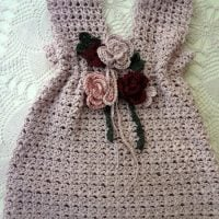 Violet Crochet Baby Dress featured at Wednesday Link Party