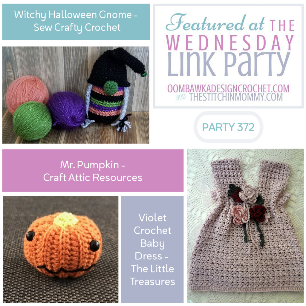 Wednesday Link Party 372 Features Witchy Halloween Gnome - Violet Baby Dress - Mr Pumpkin INSTACROCHET