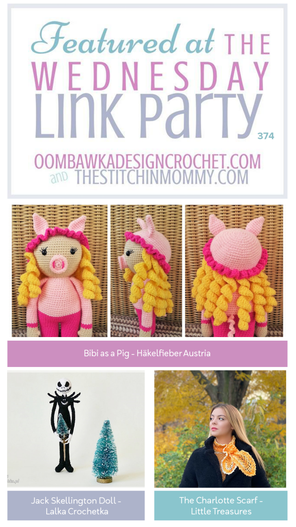Wednesday Link Party 374 Features Bibi the Pig - Jack Skellington - Charlotte Scarf Instagram #linkparty #makers #crafters #communityovercompetition