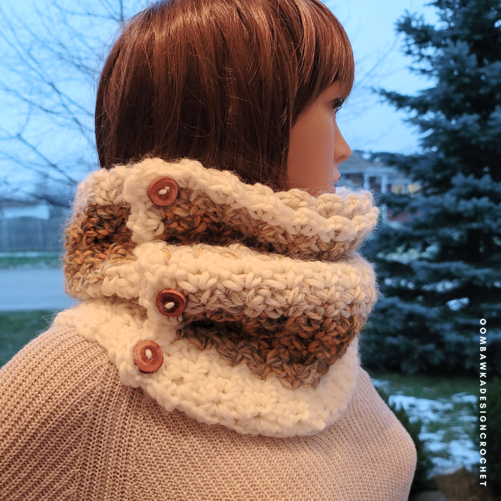 #freepatterns #crochet #CAL #crochetalong #2020CAL #makeitwithmichaels #yarnspirations #furlscrochet  #ODCMakers  #caron #crochetcowl
