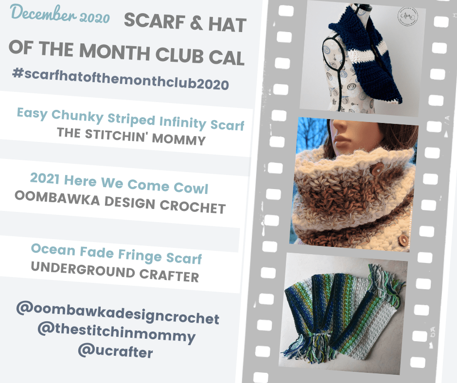 3 Scarf of the Month Club CAL Patterns for December