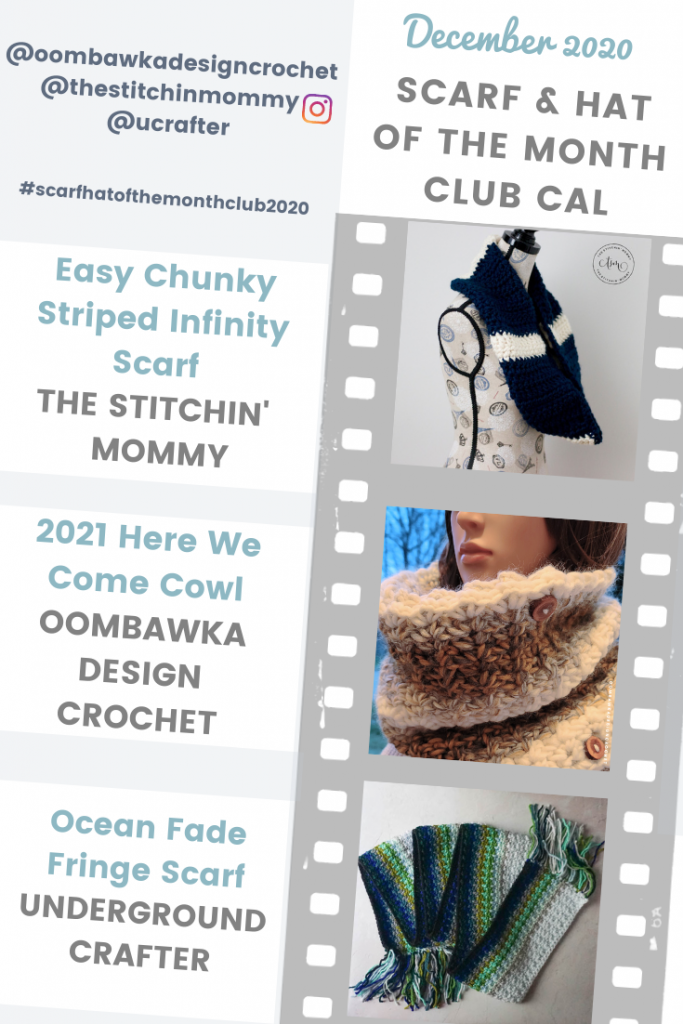 3 Scarf Patterns - Scarf of the Month Club CAL