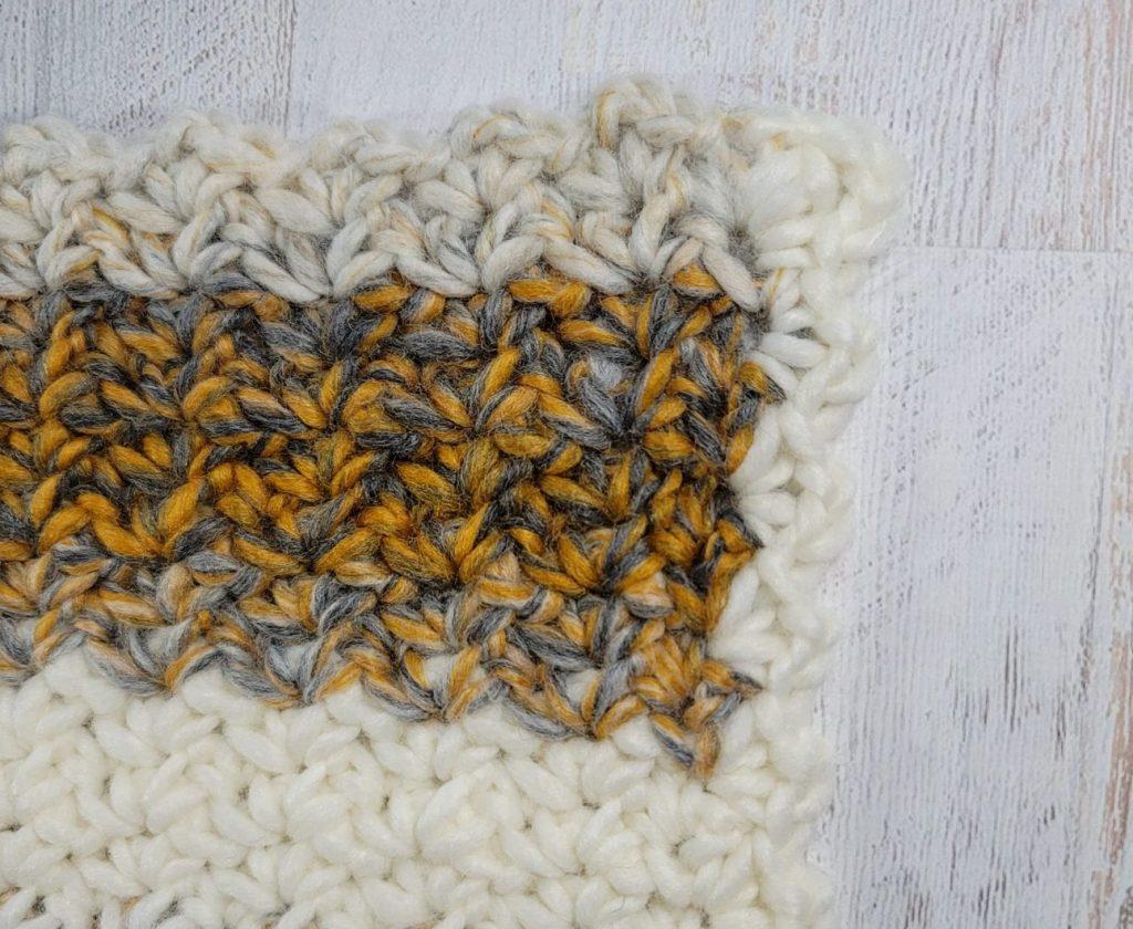 Final corner edging 2021 Here We Come Cowl Pattern by Rhondda Mol #freepatterns #crochet #CAL #crochetalong #2020CAL #makeitwithmichaels #yarnspirations #furlscrochet #ODCMakers #caron #crochetcowl