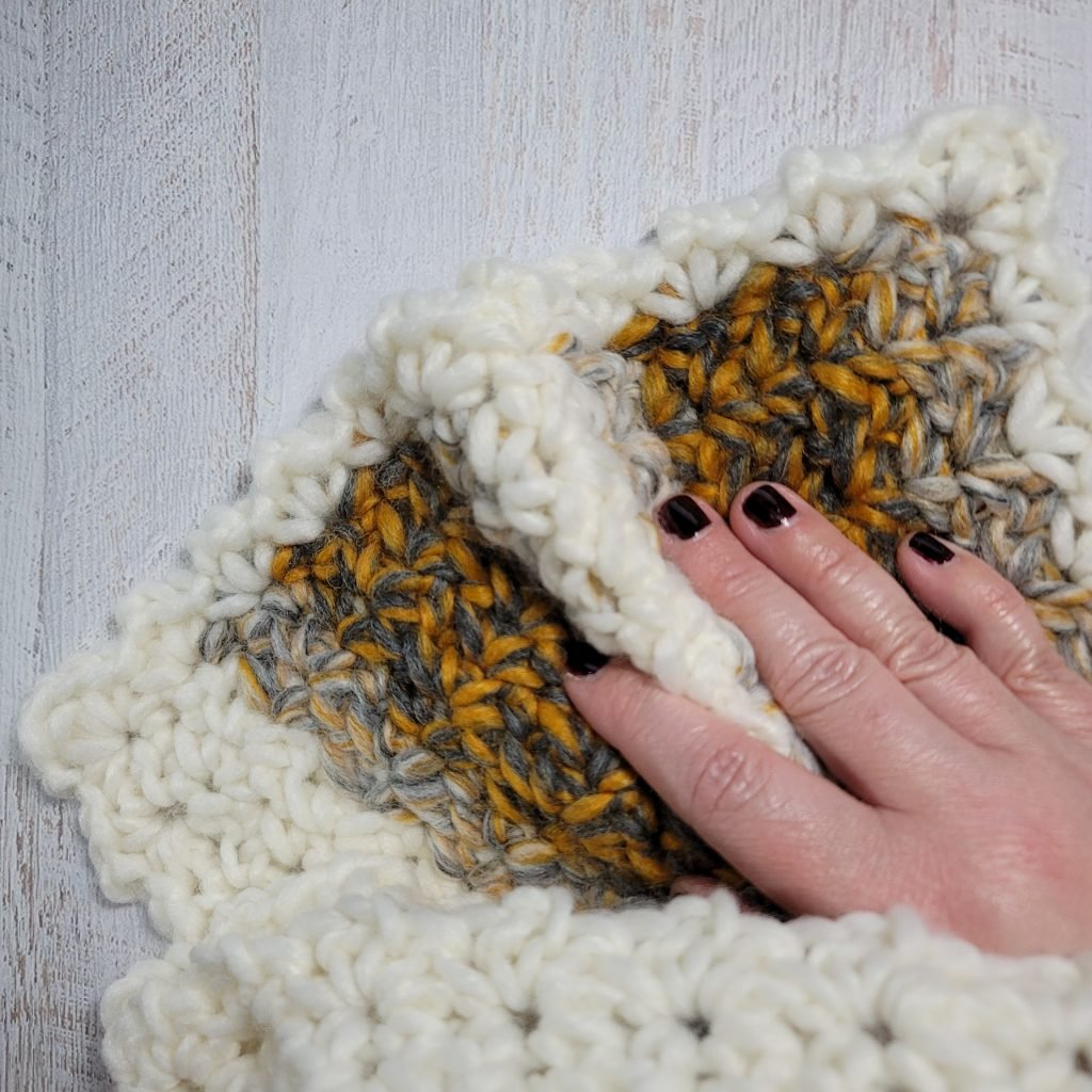 Second corner edging 2021 Here We Come Cowl Pattern by Rhondda Mol #freepatterns #crochet #CAL #crochetalong #2020CAL #makeitwithmichaels #yarnspirations #furlscrochet #ODCMakers #caron #crochetcowl