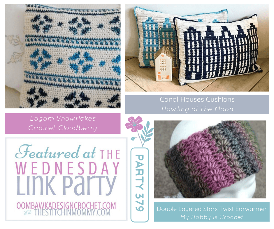 This week at Wednesday Link Party 379 we feature the Canal Houses Cushions project from Howling at the Moon, Double Layer Stars Twisted Earwarmer from @myhobbyiscrochet (free crochet pattern) and Lagom Snowflakes designed by @crochet_cloudberry (new for-sale pattern).
