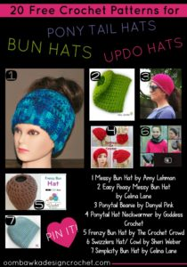 20 Free Patterns for Bun Hats Ponytail Hats Updo Hats Messy Hair Hats