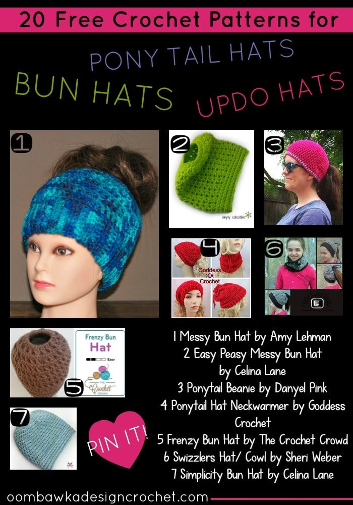 b12573b234d 20 Free Patterns for Bun Hats Ponytail Hats Updo Hats Messy Hair Hats