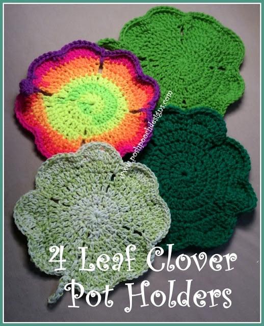 4 Leaf Clover Pot Holder - Free Pattern Friday