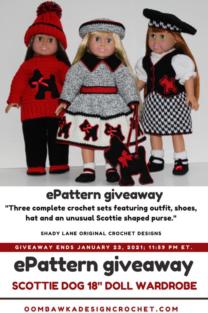 Crochet Scottie Dog 18 Doll Wardrobe EPattern Review and Giveaway ends Jan 23 2021