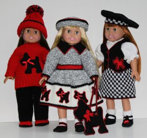 Scottie Dog 18 Inch Doll Wardrobe Patterns from ShadyLaneOriginalCrochetDesigns