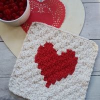 C2C Valentines Heart Washcloth - Wednesday Link Party 385