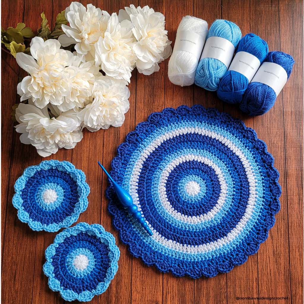 Winter Blues Table Mat and Coaster Set