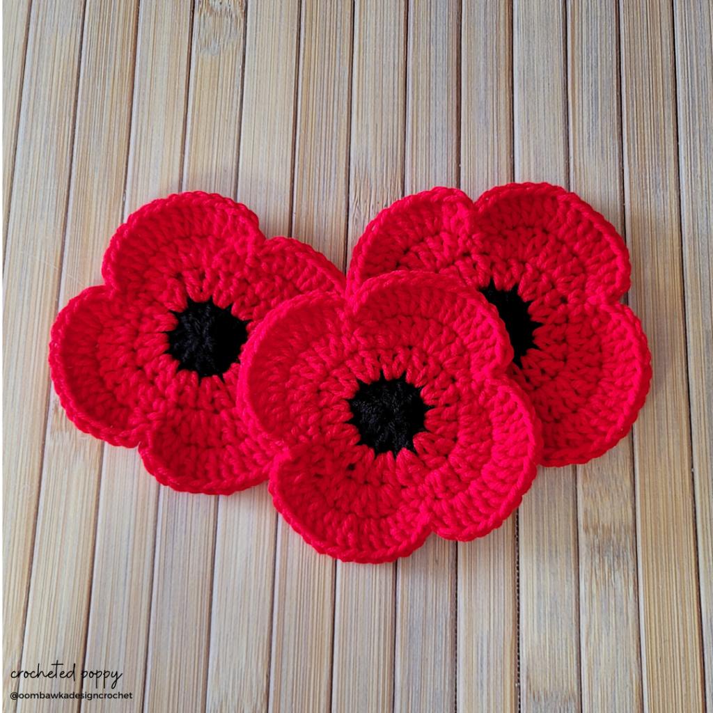 Crocheted Poppy - The Cambridge Poppy Project