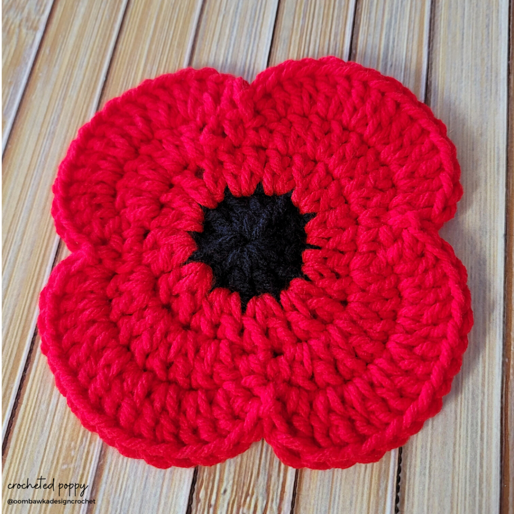 Crocheted Poppy closeup Cambridge Poppy project