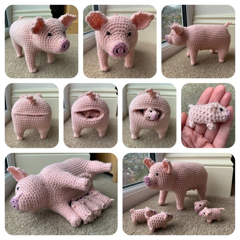 Pig with Piglets Pattern - Crochet Pattern Finds